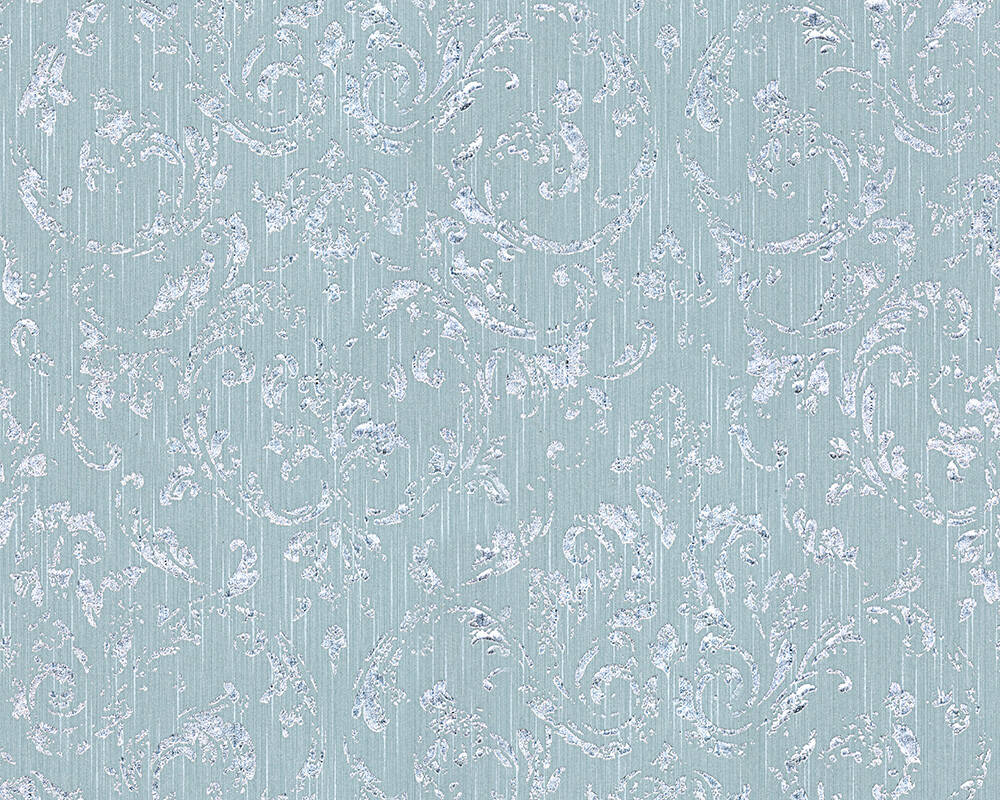 Architects Paper Wallpaper Uni, Blue, Green, Silver, Turquoise 306605