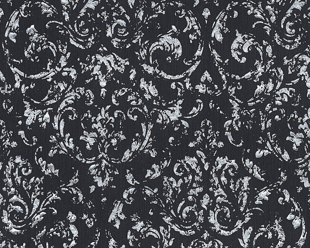Architects Paper Wallpaper Uni, Black, Metallic, Silver 306606