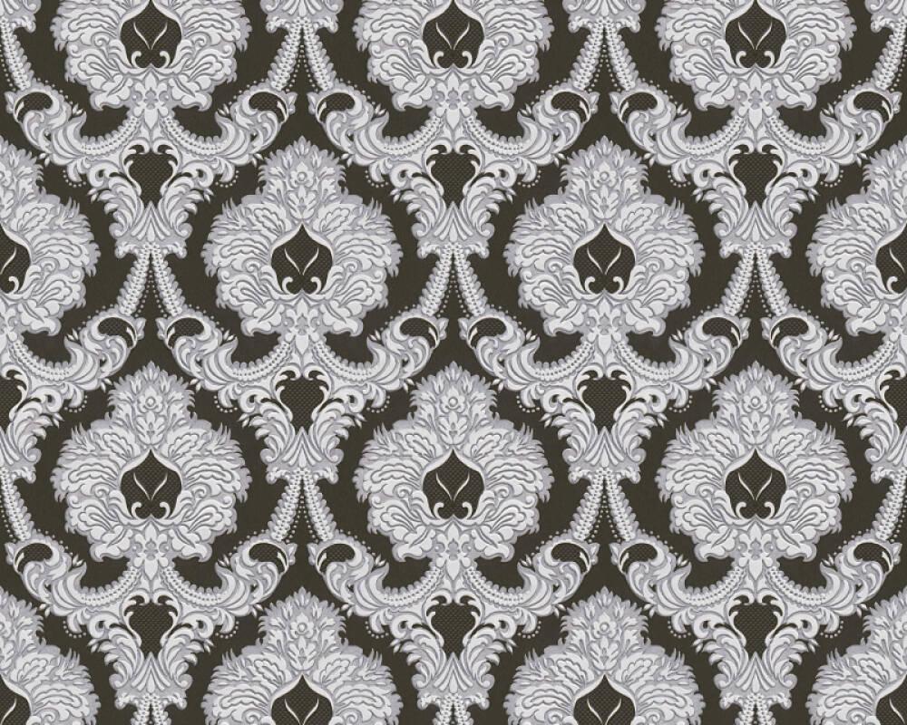 A.S. Création papier peint Baroque, argent, blanc, métallique, noir 310347