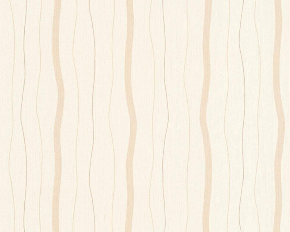 A.S. Création papier peint Rayures, beige, bronze, crème, métallique 325854