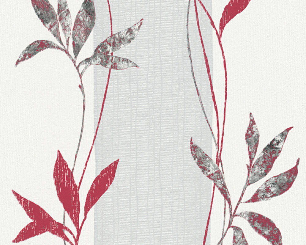A.S. Création Wallpaper Floral, Grey, Metallic, Red, Silver 326545