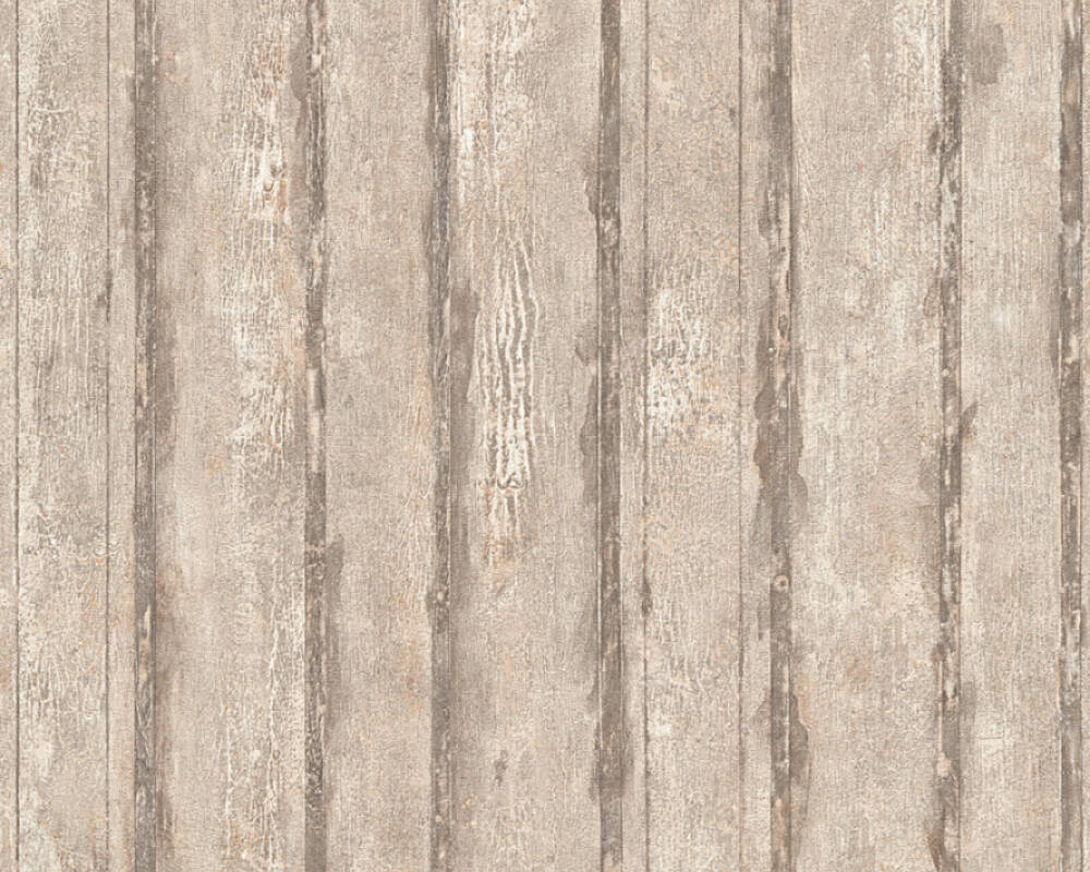A.S. Création Wallpaper Wood, Cottage, Beige, Grey, Metallic 327063