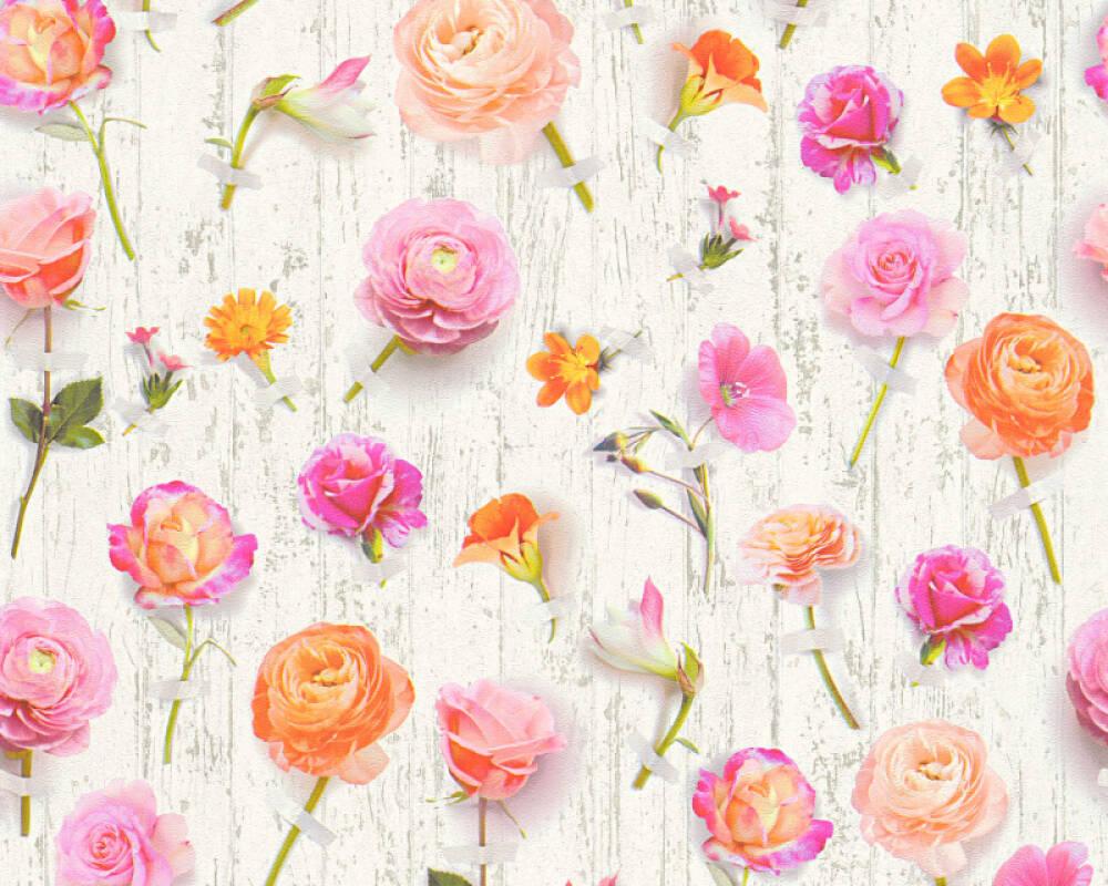 Floral Vliestapete - Urban Flowers - 327231 32723-1 - Bunt, Weiß