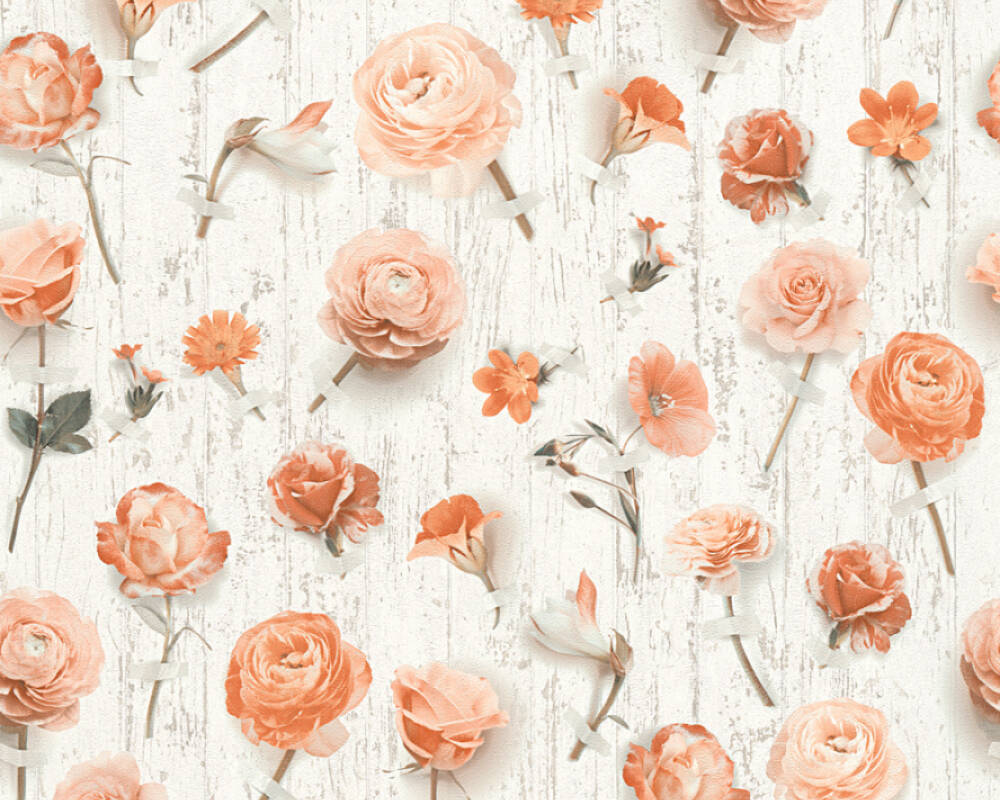 Floral Vliestapete - Urban Flowers - 327232 32723-2 - Creme, Grau, Weiß