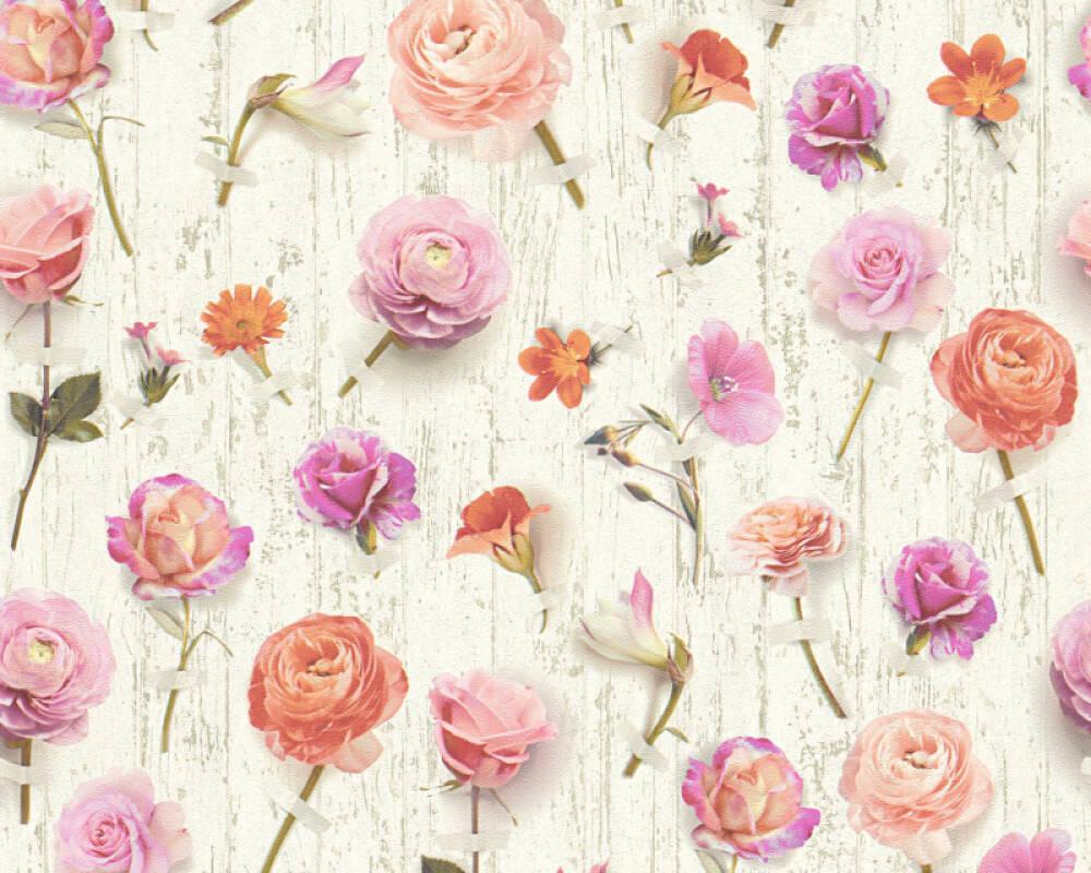 Floral Vliestapete - Urban Flowers - 327233 32723-3 - Bunt, Weiß