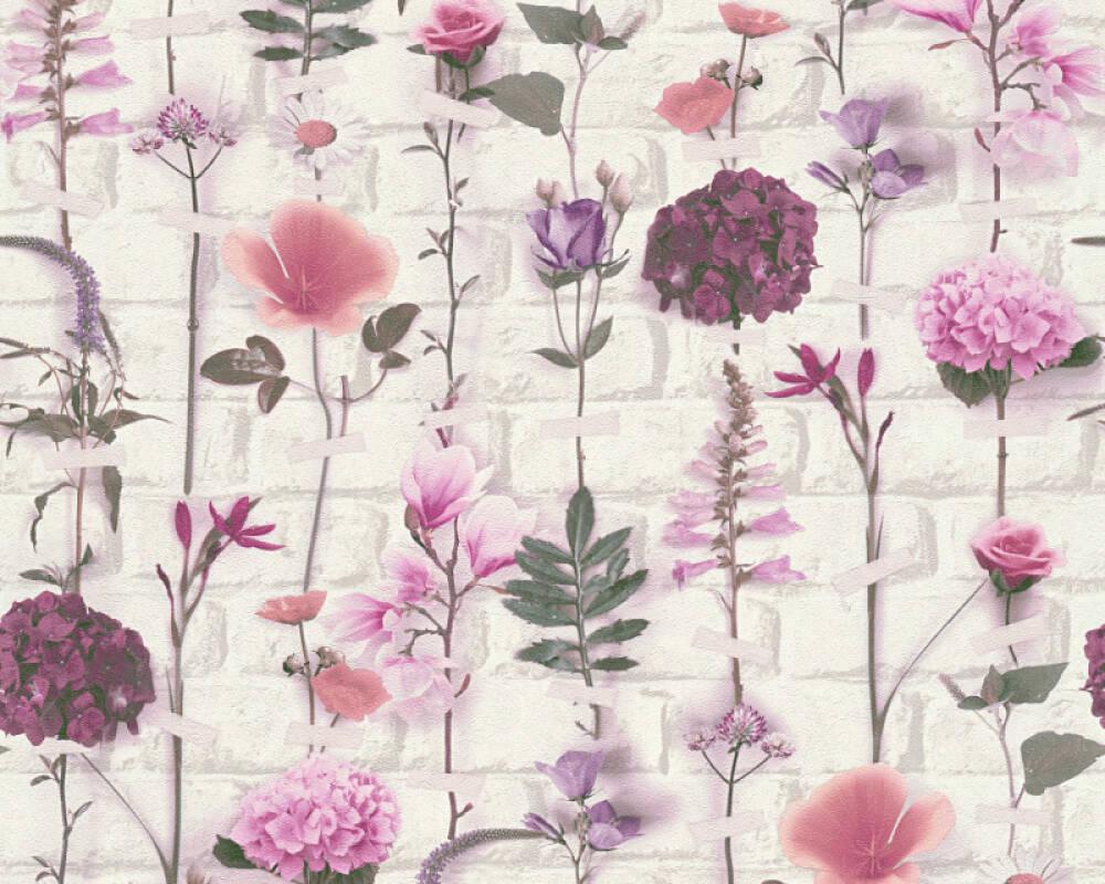 Floral Vliestapete - Urban Flowers - 327251 32725-1 - Grün, Rot, Violett