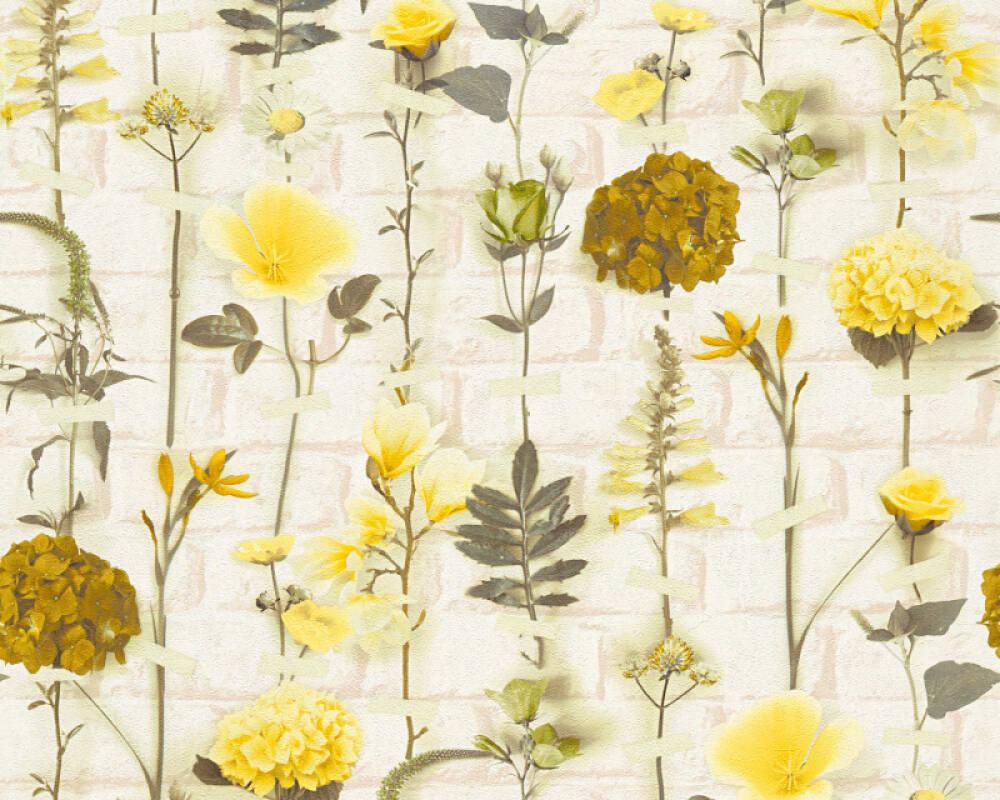 Floral Vliestapete - Urban Flowers - 327252 32725-2 - Creme, Gelb, Grün