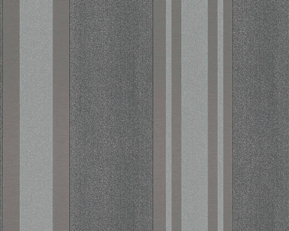 A.S. Création Wallpaper Stripes, Black, Grey, Metallic, Silver 327544
