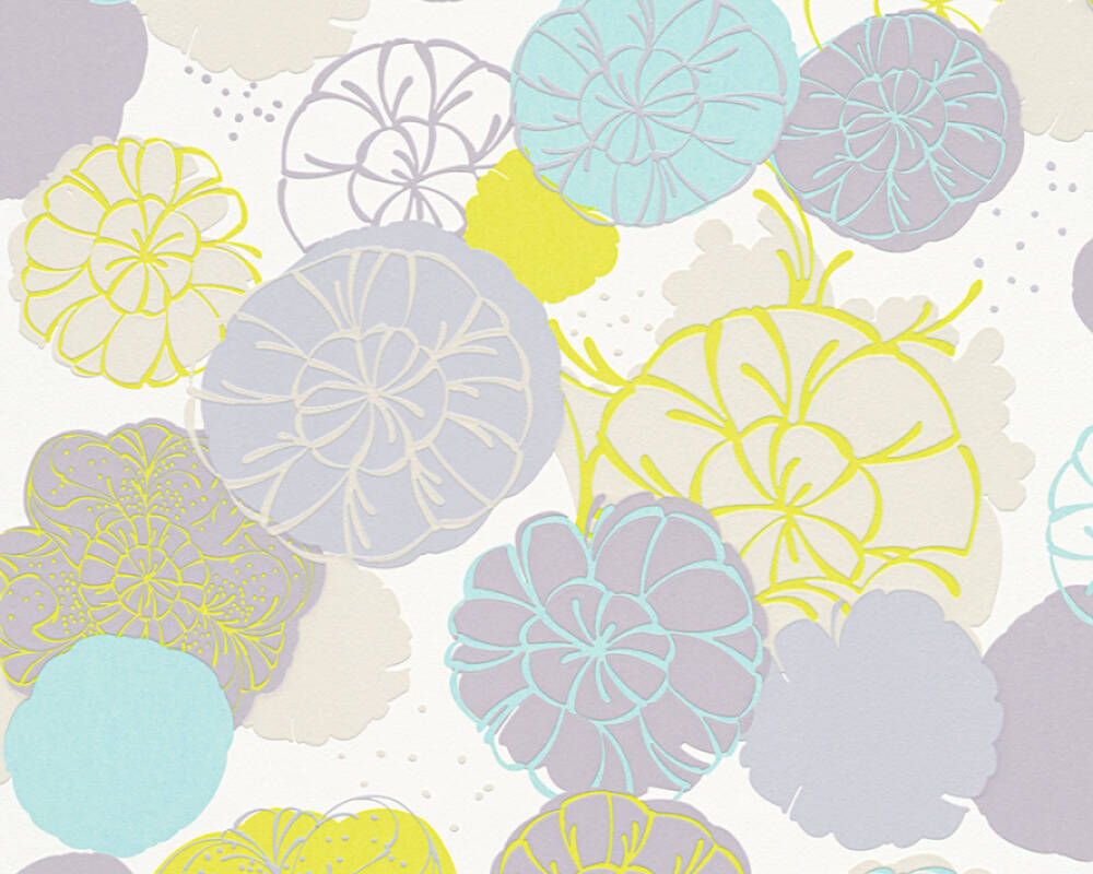 Esprit Home Wallpaper Flowers, Blue, Green, Grey, Turquoise 327631