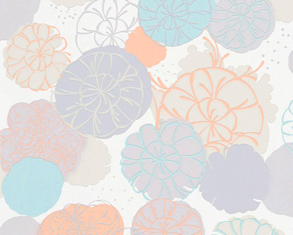 Esprit Home papier peint Fleurs, gris, orange, turquoise, vert 327632