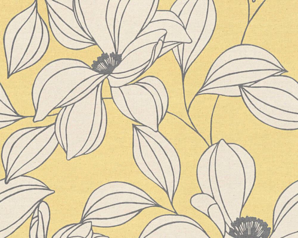 Floral Vliestapete - Urban Flowers - 327951 32795-1 - Creme, Gelb, Schwarz