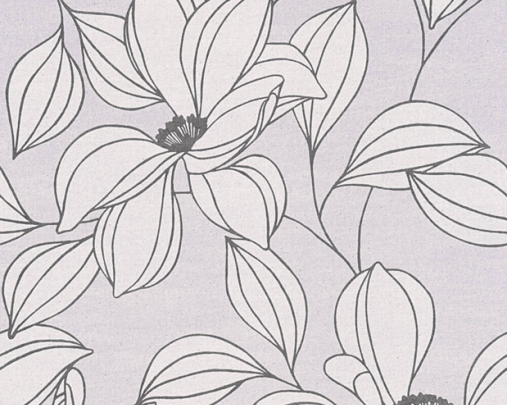 Floral Vliestapete - Urban Flowers - 327953 32795-3 - Grau, Schwarz, Weiß