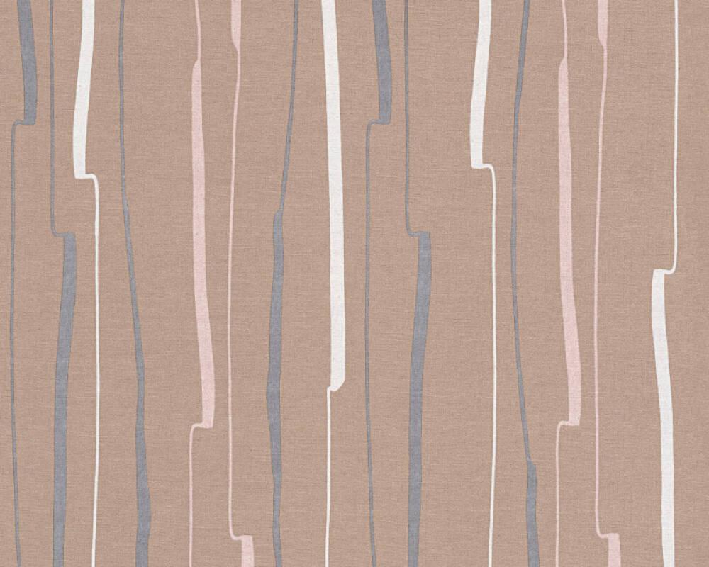 A.S. Création papier peint Rayures, blanc, marron, noir 327963