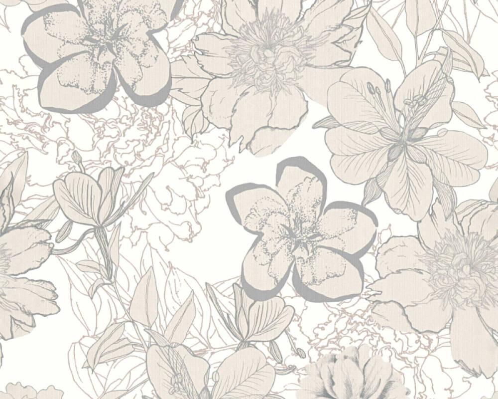 Modern, Floral Papiertapete - Urban Flowers - 327981 32798-1 - Creme, Weiß