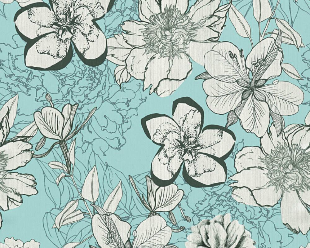 Modern, Floral Papiertapete - Urban Flowers - 327983 32798-3 - Blau, Grau