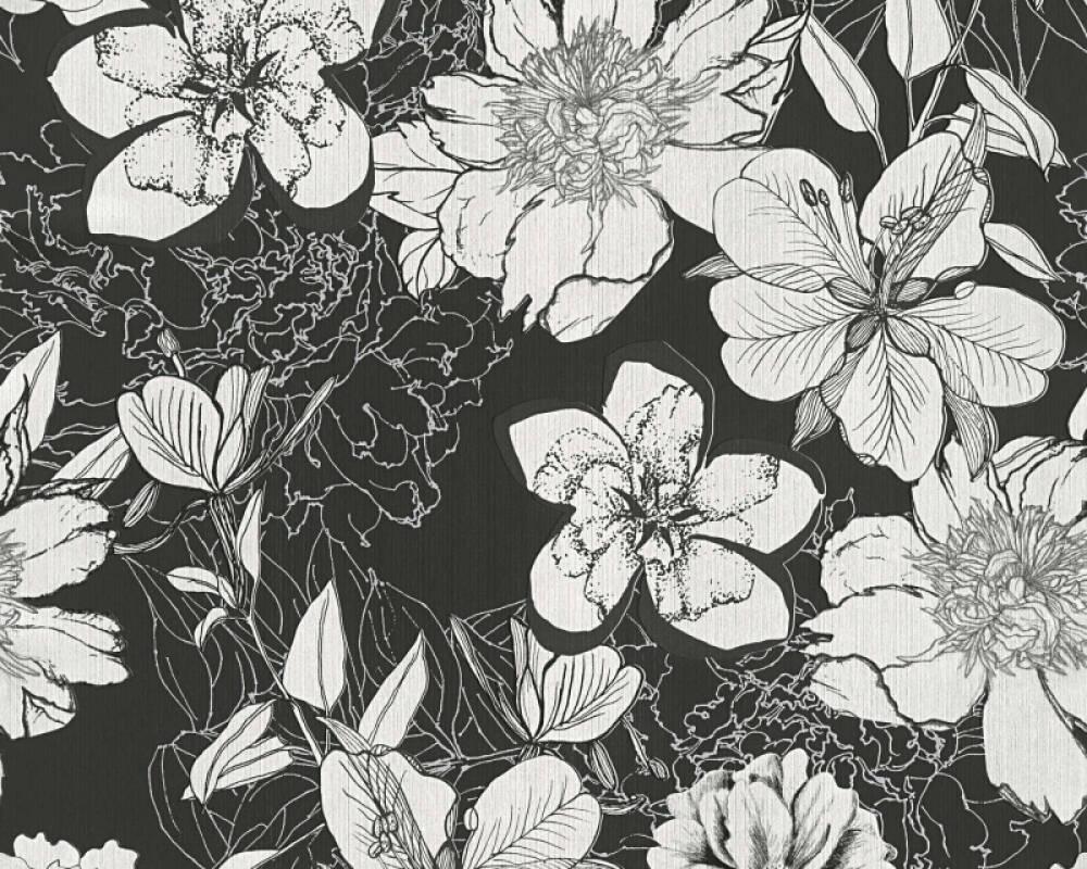 Modern, Floral Papiertapete - Urban Flowers - 327984 32798-4 - Grau, Schwarz