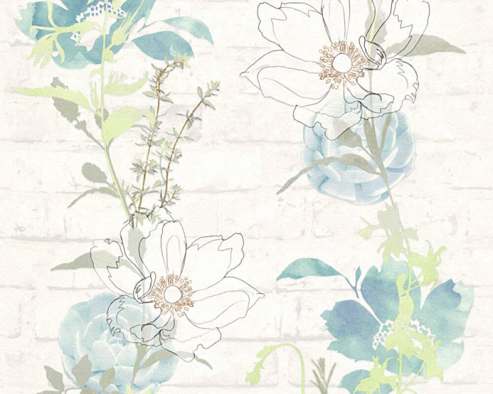 Modern, Floral Papiertapete - Urban Flowers - 328001 32800-1 - Blau, Grün, Weiß