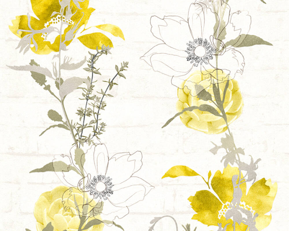 Modern, Floral Papiertapete - Urban Flowers - 328002 32800-2 - Gelb, Grün, Weiß