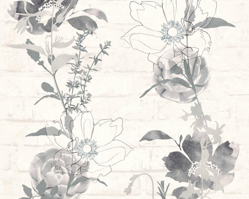 Modern, Floral Papiertapete - Urban Flowers - 328003 32800-3 - Grau, Weiß