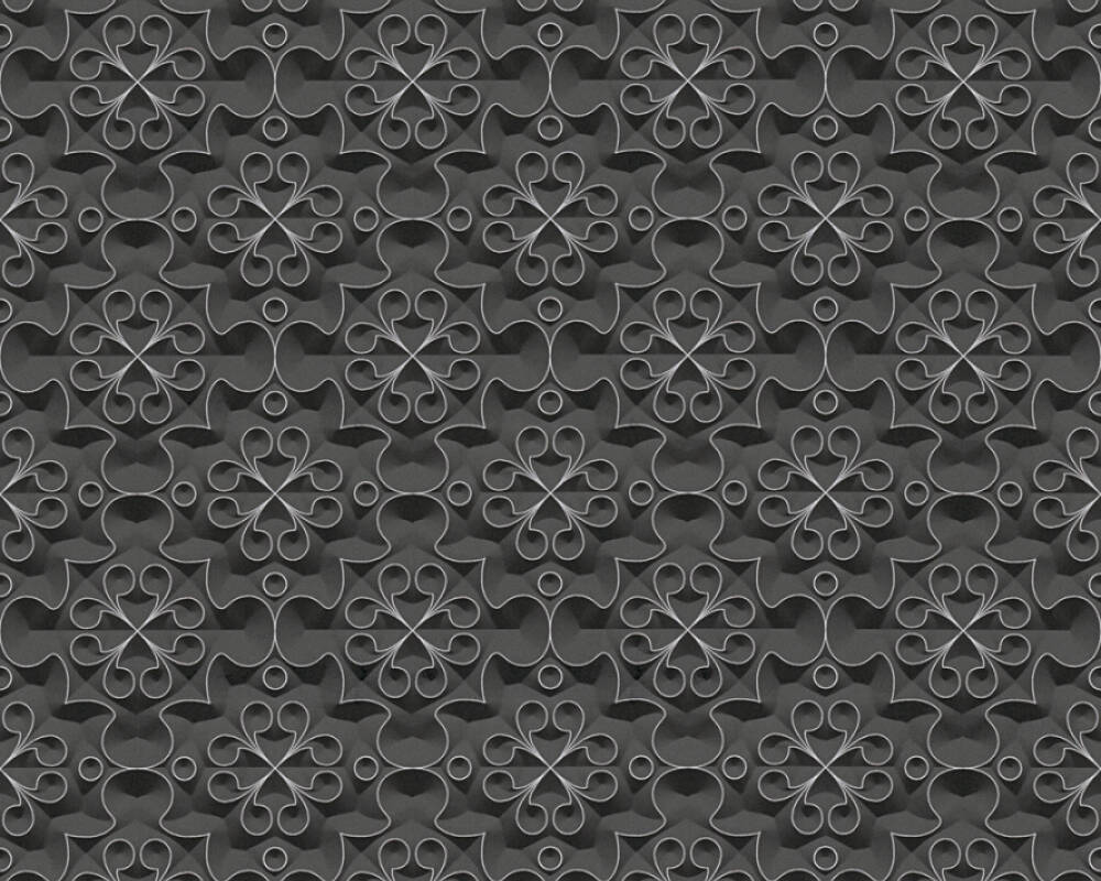 A.S. Création Wallpaper Graphics, 3D, Black, Metallic, Silver 329831
