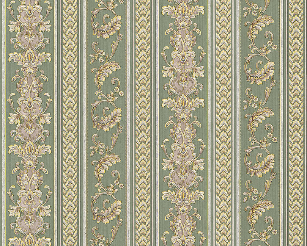 A.S. Création Wallpaper Stripes, Green, Yellow 335474