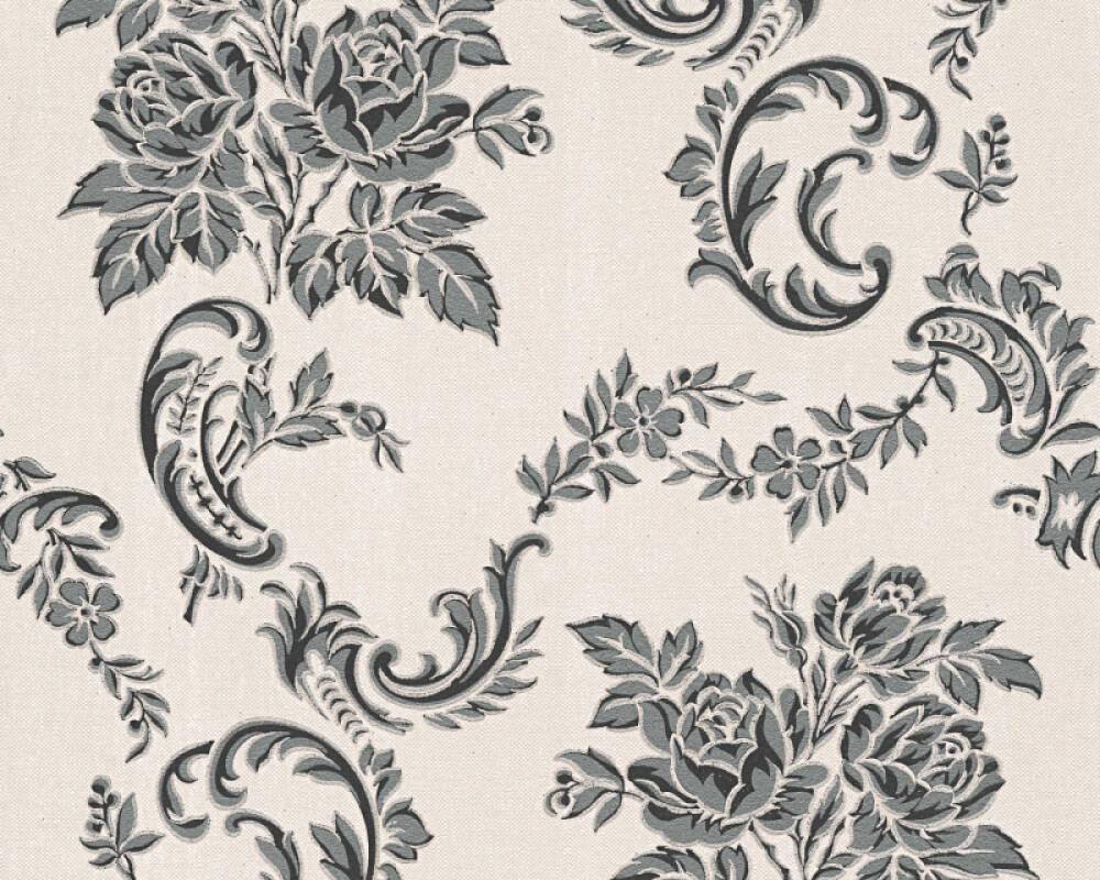 As Creation Wallpaper Flowers Black Grey Metallic Silver 338673