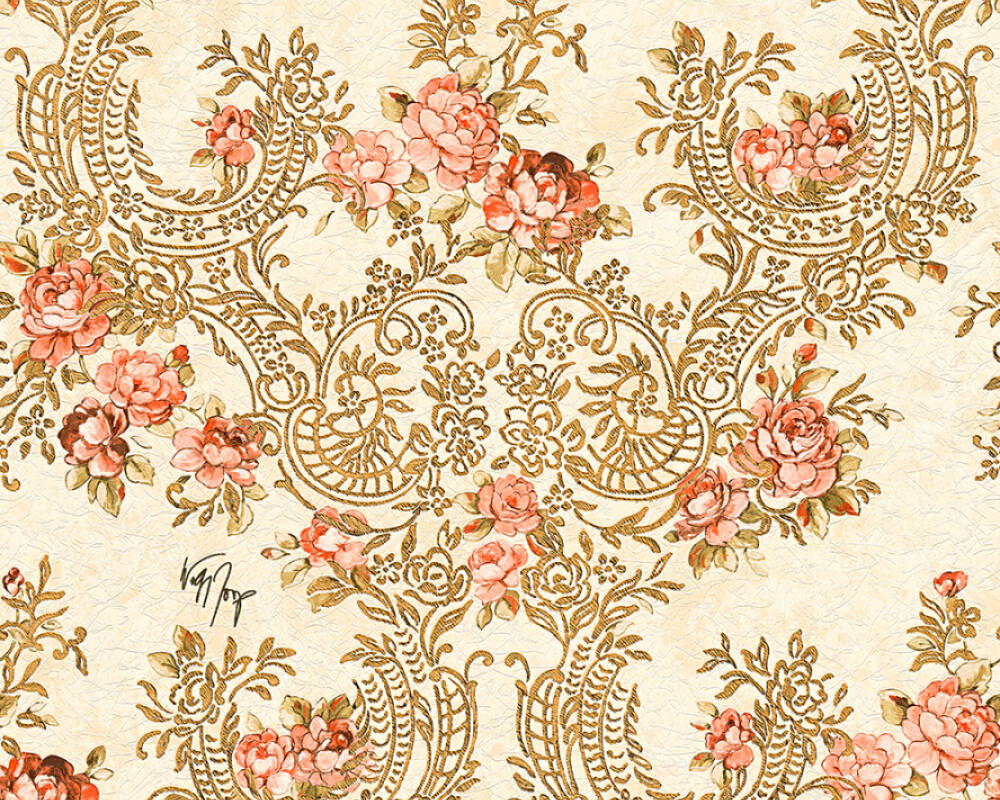 Kind Of White Wallpaper Flowers Beige Gold Metallic Red