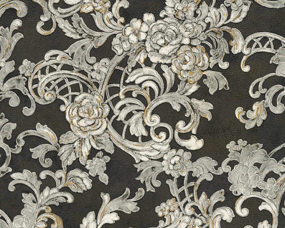 Kind Of White Wallpaper Flowers Black Gold Metallic Silver