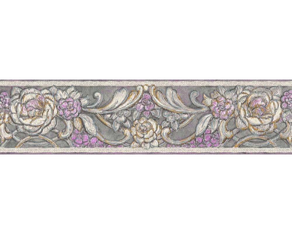 KIND OF WHITE Border Floral, Gold, Grey, Metallic, Purple 340784