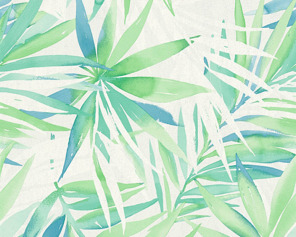 A.S. Création Wallpaper Jungle, Blue, Green, Turquoise 341251