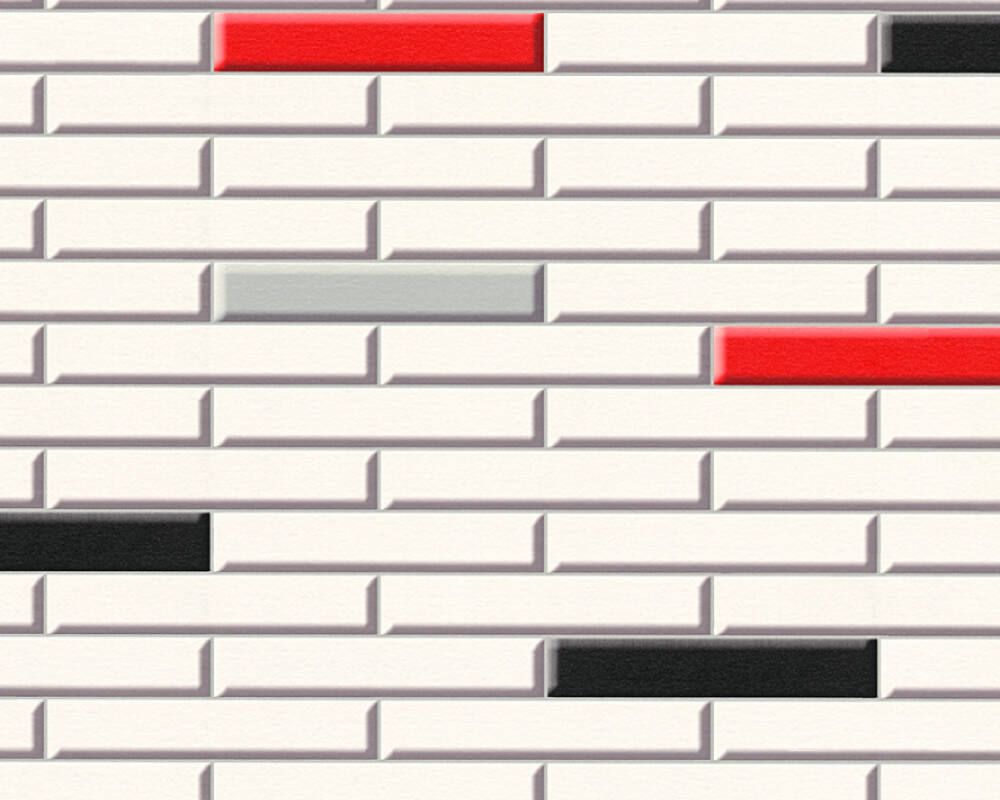 A.S. Création Wallpaper Tile, Black, Cream, Red 342783