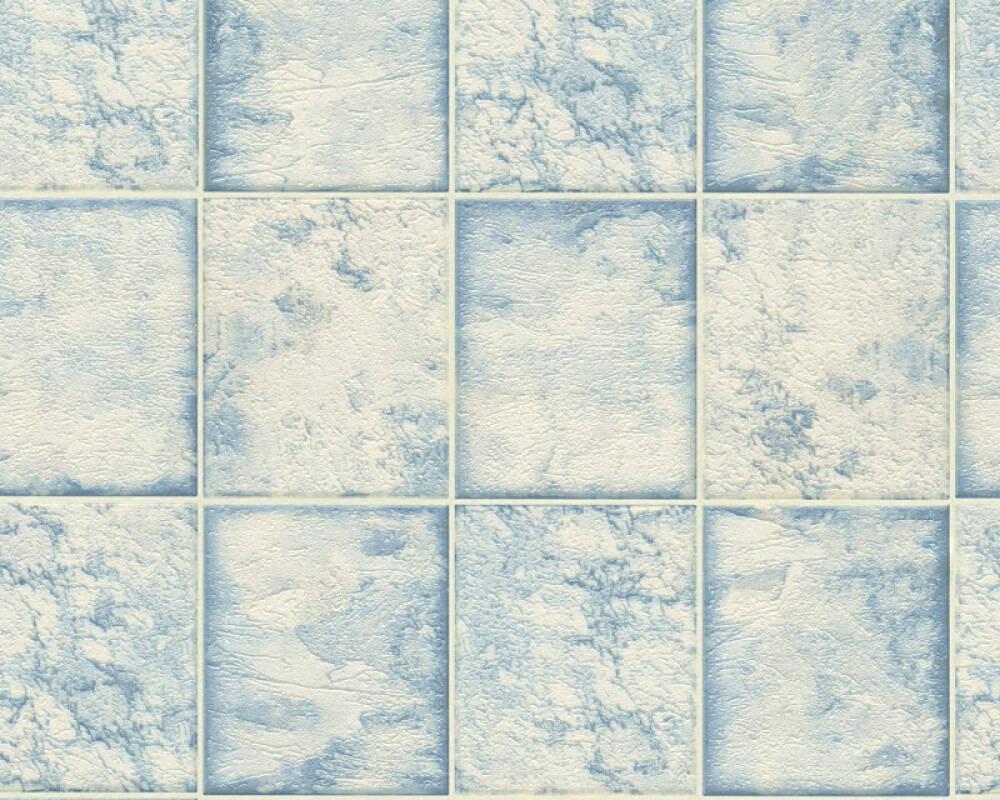A.S. Création Wallpaper Tile, Blue, Metallic, Silver, White 342791