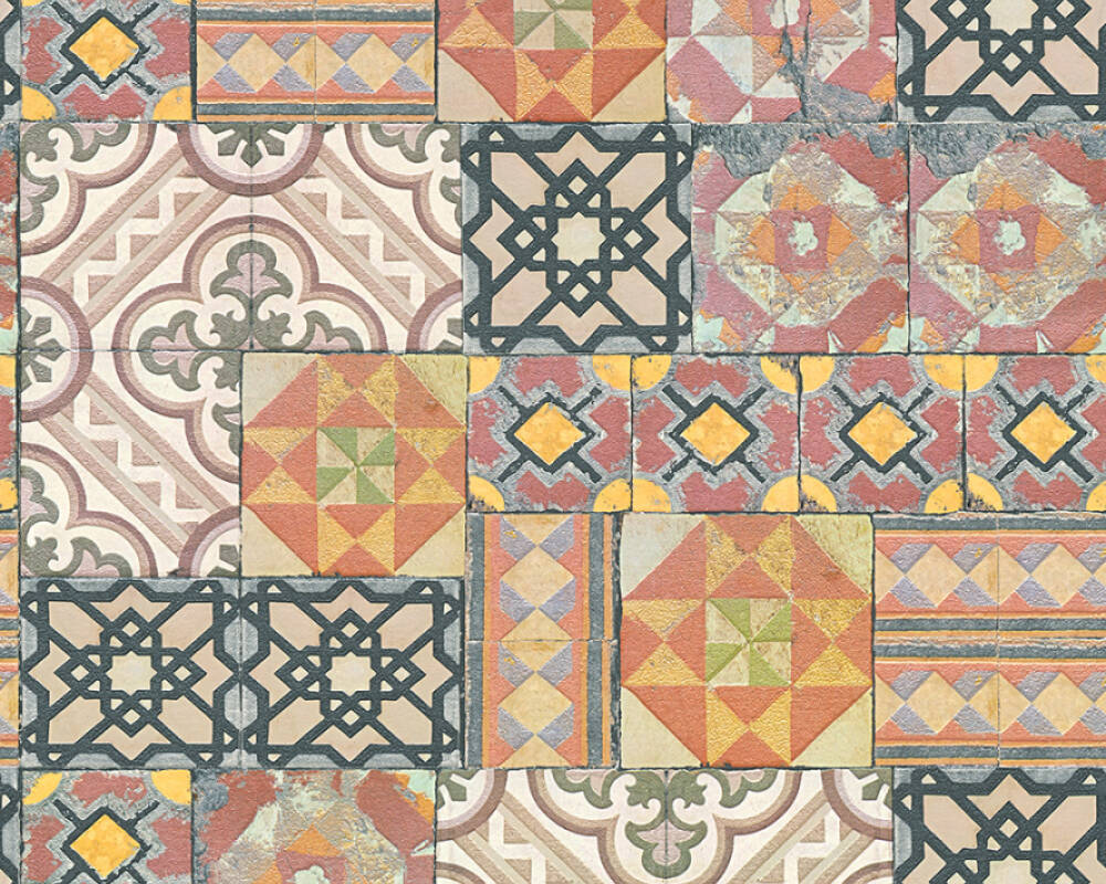 A.S. Création Wallpaper Tile, Coloured, Metallic 343001