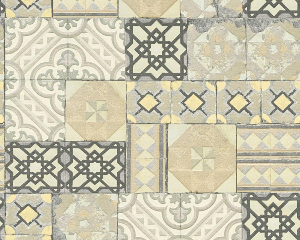 A.S. Création Wallpaper Tile, Gold, Green, Grey, Metallic 343002