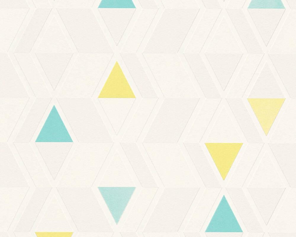 A.S. Création papier peint Graphique, gris, jaune, vert 343022