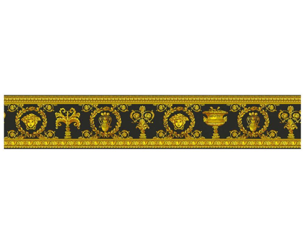 Versace Home Bordüre Barock, Floral, Gelb, Gold, Metallics, Schwarz 343051
