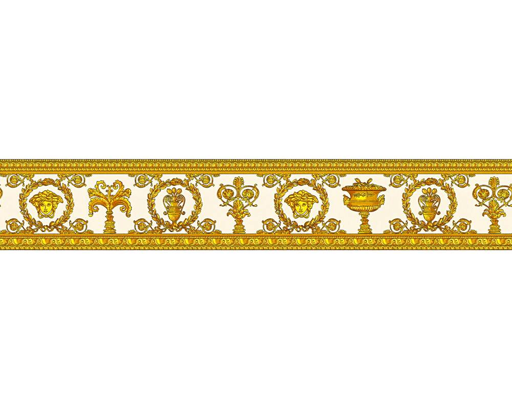 Versace Home Wallpaper Baroque, Floral, Gold, Metallic, Orange, Yellow 343052
