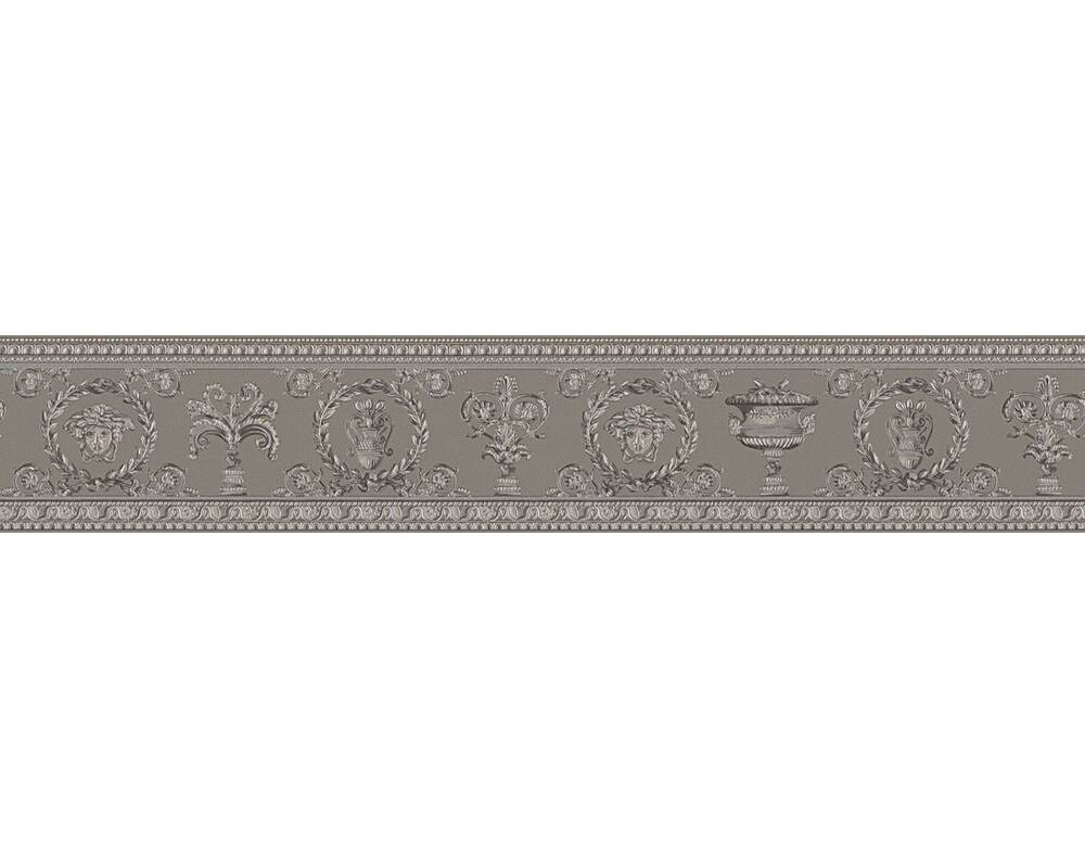 Versace Home Border Baroque, Floral, Beige, Grey, Metallic, Silver 343053