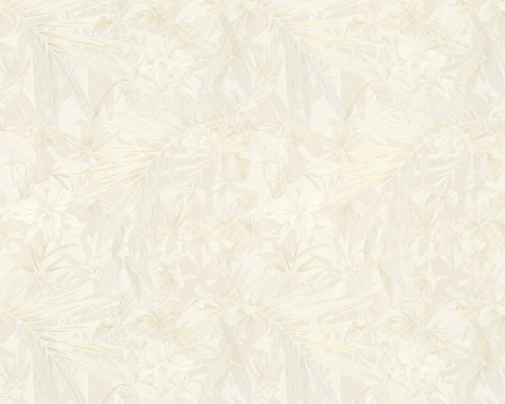 A S Creation Wallpaper Flowers Cream Gold Metallic White