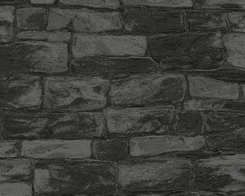 Livingwalls Wallpaper Stone, Black, Grey, Metallic, Silver 343819