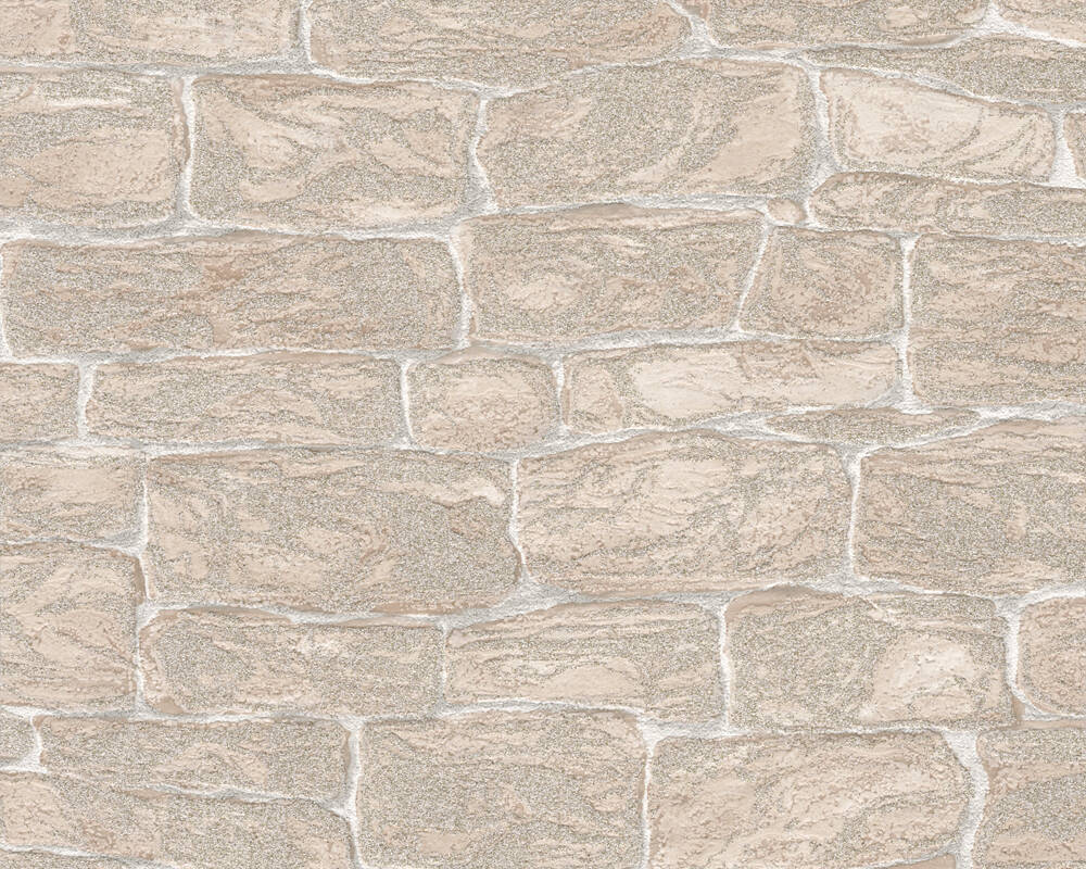 A.S. Création Wallpaper Stone, Beige, Cream 343826