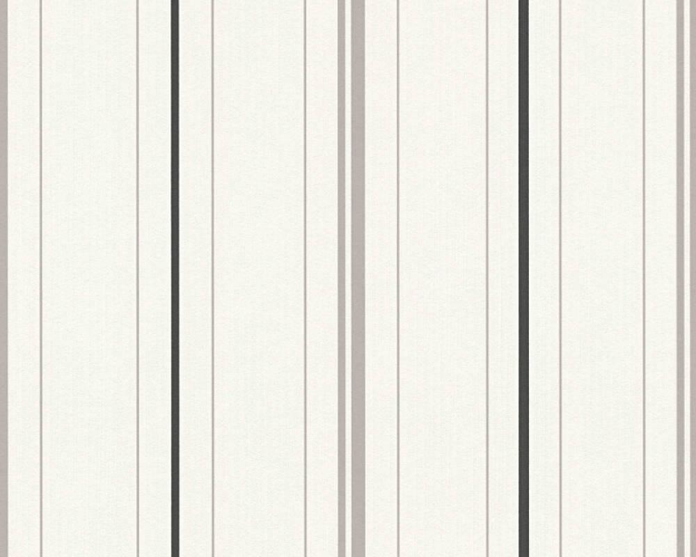 A.S. Création Wallpaper Stripes, Black, Grey, White 347643