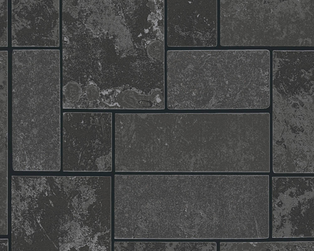 A.S. Création Wallpaper Tile, Black, Metallic, Silver 347793