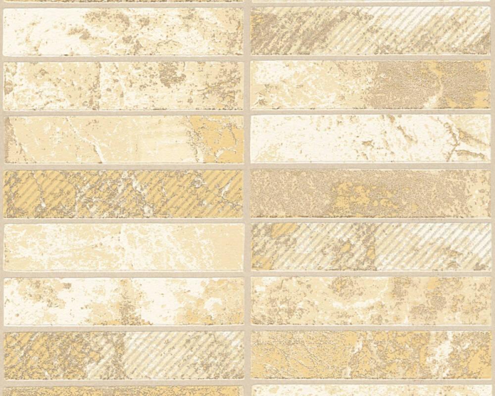 A.S. Création Tapete Fliesen, Beige, Creme, Gold, Metallics 348181