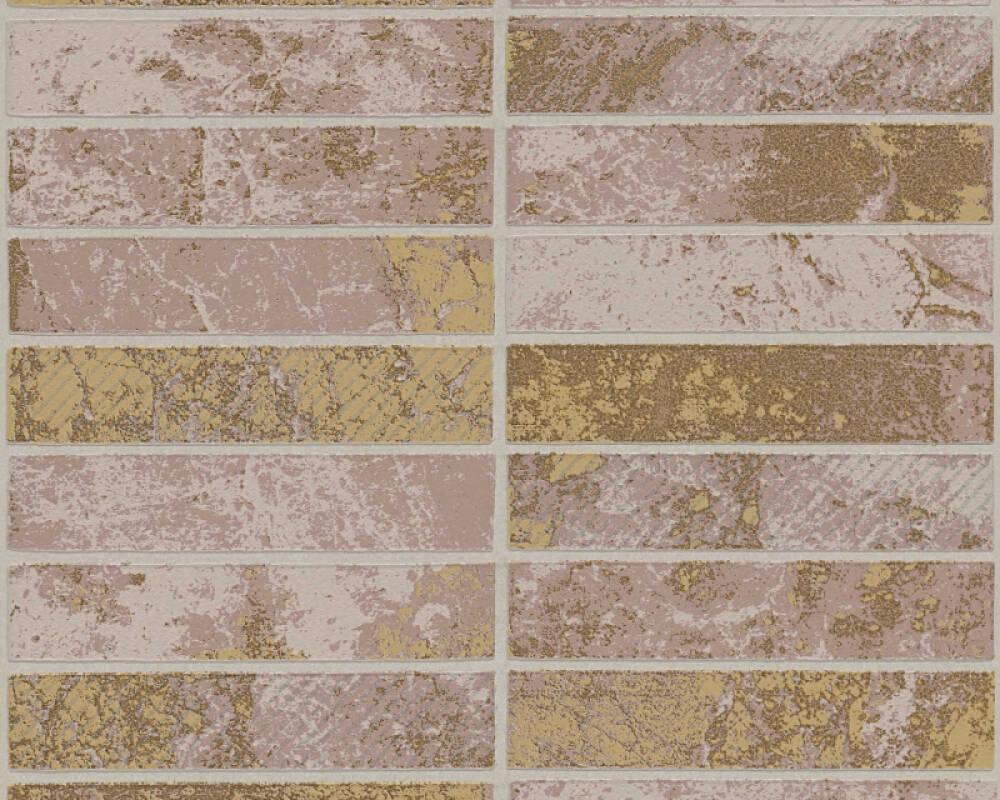 A.S. Création papier peint Tuile, argent, beige, marron, métallique 348182