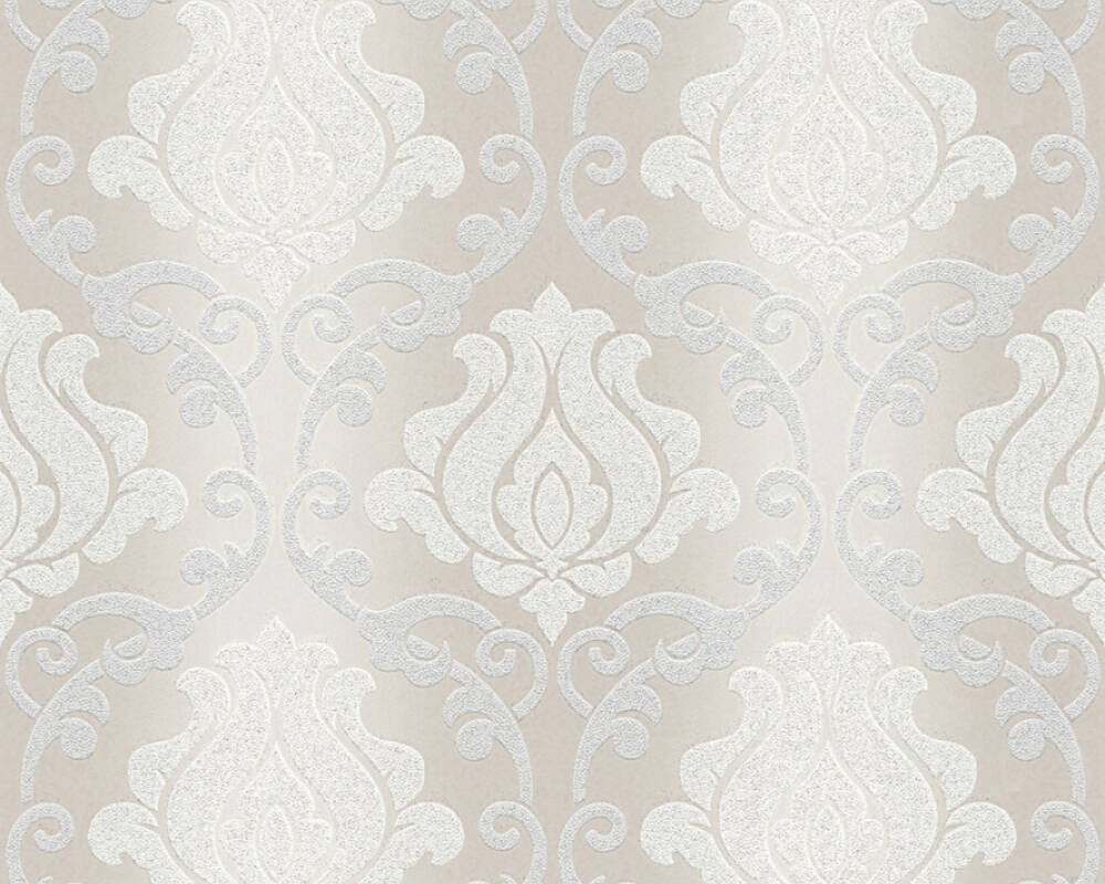 As Creation Wallpaper Baroque Cream Grey Metallic Silver