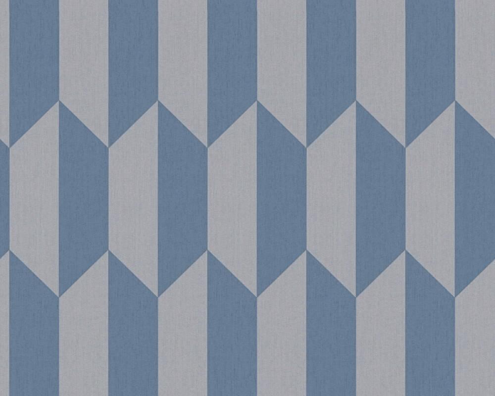 A.S. Création papier peint Graphique, bleu, gris 349002
