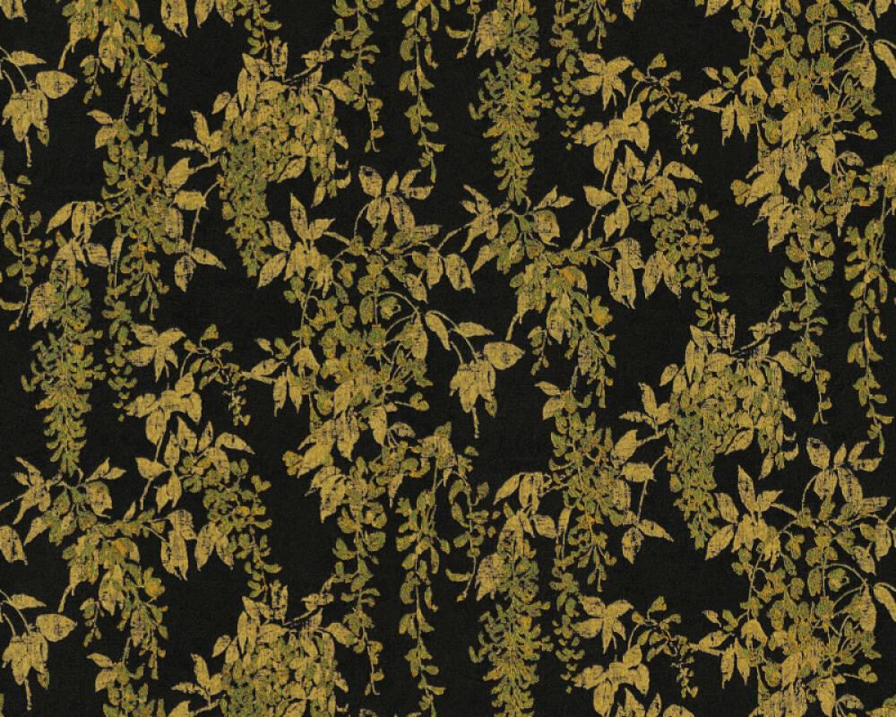 ORIGINALS papier peint Floral, métallique, noir, or 351144