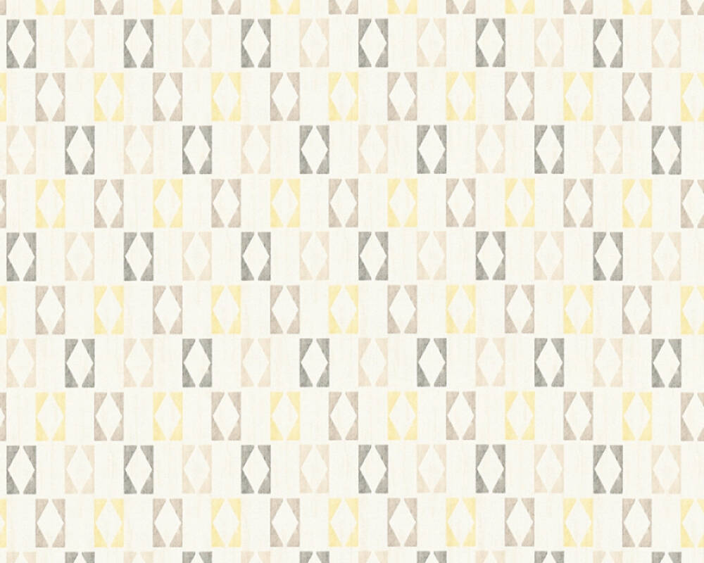 A.S. Création papier peint Graphique, blanc, gris, jaune 351184