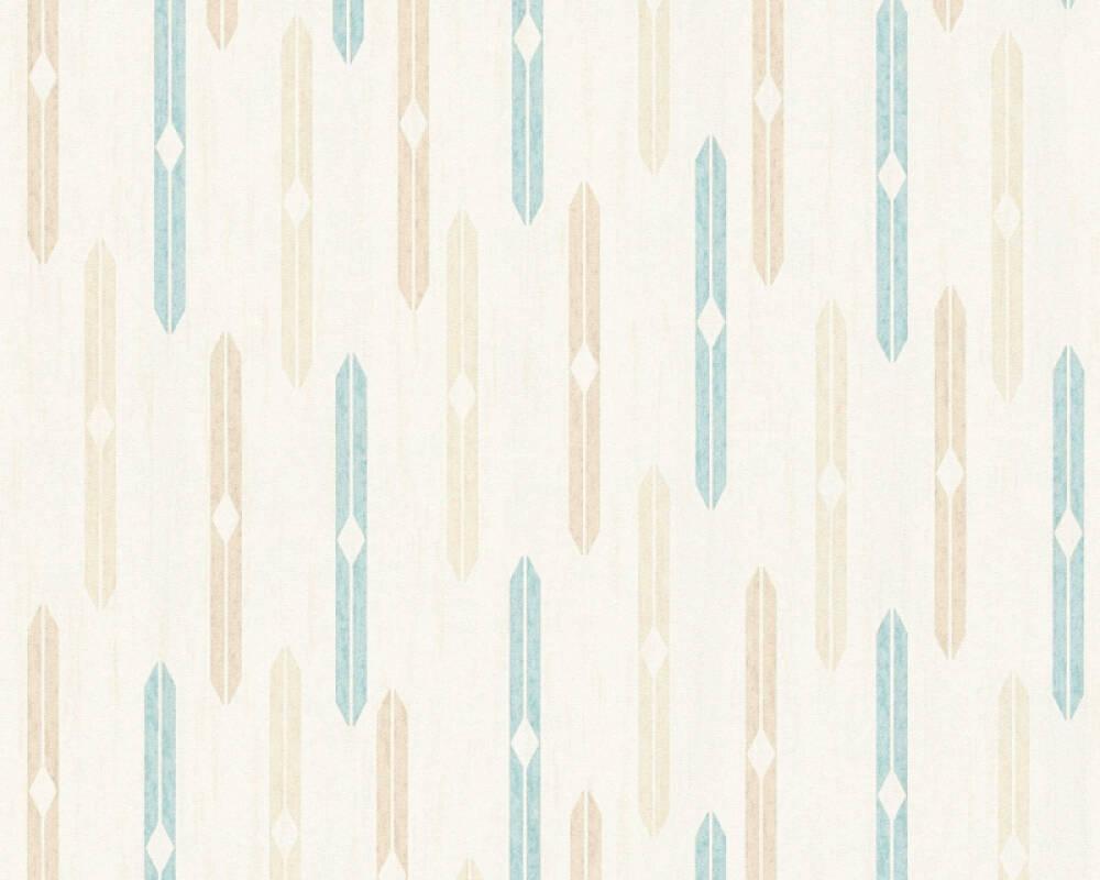 A.S. Création papier peint Graphique, beige, bleu, crème 351192